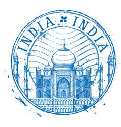 Taj mahal logo design template shabby vector