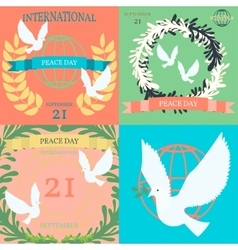 Vintage posters for the international day of peace vector