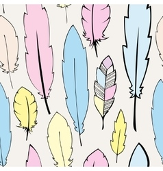 Seamless pastel bohemian feathers vector