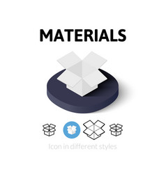 Materials icon in different style vector