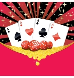 Dices playing cards and falling golden coins vector