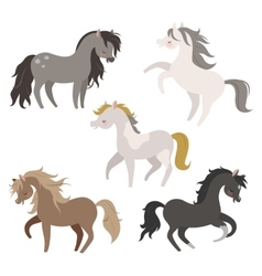 Set of horses in action vector