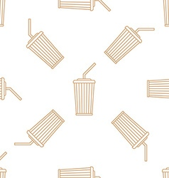 Cola paper cup straw outline seamless pattern vector