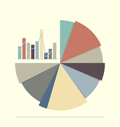 Pie chart and bar chart for documents and reports vector