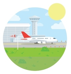 International airport landscape flat style design vector