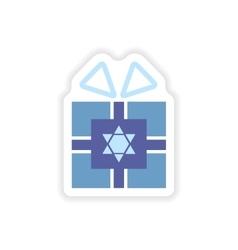 Paper sticker on white background hanukkah gift vector