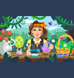 A girl watering flowers in the garden vector