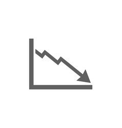 Bankruptcy chart icon on white background vector