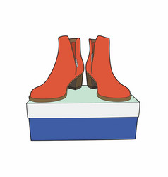 Boots on a blue box vector
