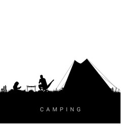 camping nature with man and child in black color vector image vector image
