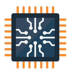 Chip flat icon circuit board and cpu vector