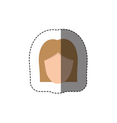 Color sticker with head of woman with light hair vector