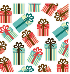 Colorful background pattern of gift boxes with vector