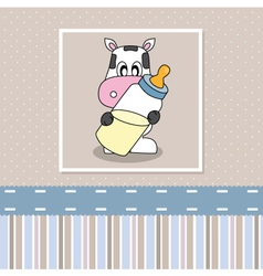 Cow with baby bottle vector image