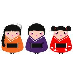 Cute colorful Geisha set isolated on white vector image