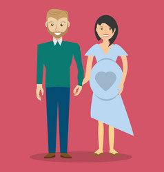 Cute couple hand holding and pregnancy vector