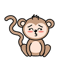 Cute monkey wild animal with face expression vector