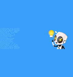 Cute robot hold light bulb chat bot over circuit vector