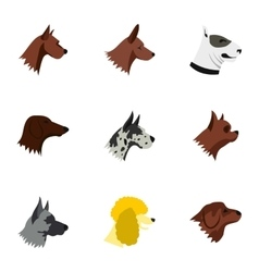 Doggy icons set flat style vector