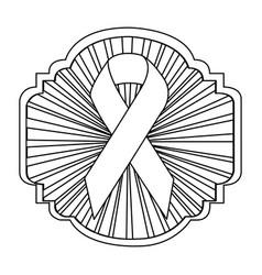 Emblem ornamental with breast cancer symbol vector