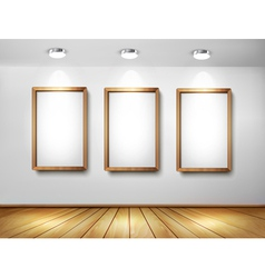 Empty wooden frames on wall with spotlights and vector
