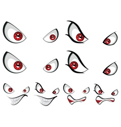 Evil face with red eyes vector