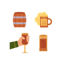 flat beer symbols set isolated vector image