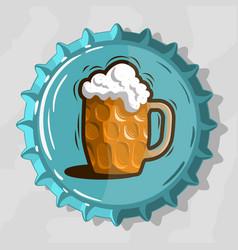 Glass mug of draft beer with foam on top view beer vector