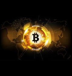 golden bitcoin digital currency and world map vector image