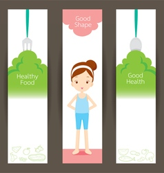 Good shape girl and clean foods banner concept vector image