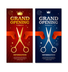 grand opening banners invitation set vector image vector image