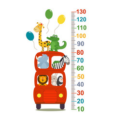 Growth measure with animals in london red bus vector