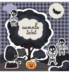 Halloween night tree and olw vector