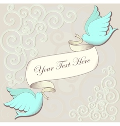 Invitation card with birds and ribbon vector