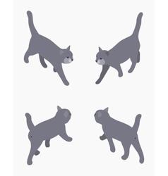 Isometric gray walking cat vector