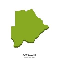 Isometric map of botswana detailed vector