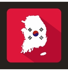 Map of South Korea icon flat style vector image