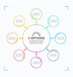 minimal style circle infographic template with 8 vector image