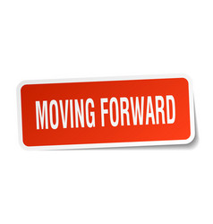 moving forward square sticker on white vector image vector image