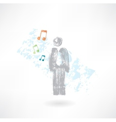 Music man grunge icon vector