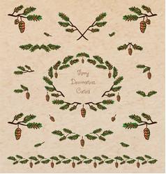 Pine tree decorative elements vector