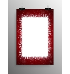 Poster Frame Falling Snow Red Background vector image vector image