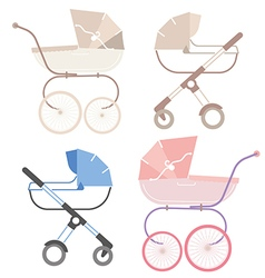 pram for boy and girl retro and modern vector image vector image