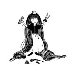 Princess with long hair has cut bangs vector