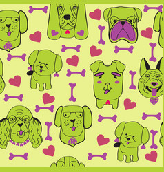 Puppies dog seamless pattern with pet cute dogs vector