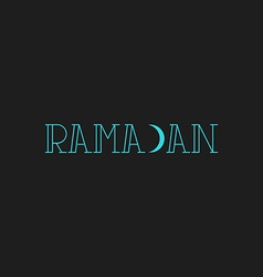 Ramadan kareem inscription modern muslim greeting vector