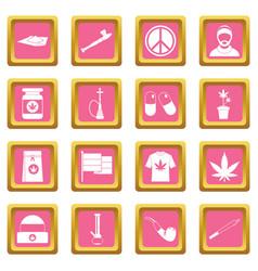 Rastafarian icons pink vector