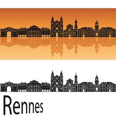 Rennes skyline in orange background vector