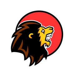 Roaring Lion Circle Badge vector image