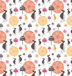 seamless background from the amusing stylized bird vector image